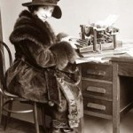 Old photo of Galli Curci (opera singer) at the typewriter