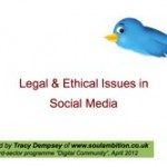 "Front cover of ""Legal and Ethical Issues in Social Media (3rd Sector)"" PDF file - text and somewhat-worried-looking Twitter bird"